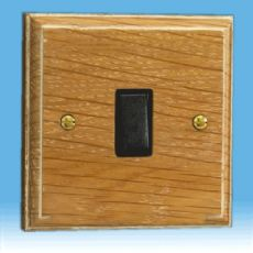 Varilight Kilnwood 1 Gang 1 or 2 Way 10A Rocker Switch Limed Oak Black Insert XK1LOB